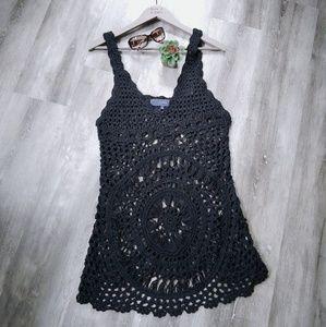 Lumiere Black Knit Crochet Swimsuit Cover Up